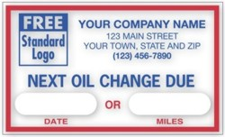 1690C Next Oil Change Due Label personalized with your business information