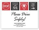 "200116 ""Please Drive Safely"" Auto Floor Mat personalized with your business information"