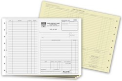 245 Work Order form - Side-Stub with Carbons personalized with your business information