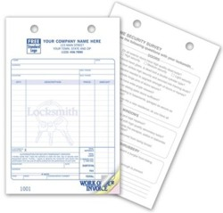 619 Locksmith Work Order Invoice personalized with your business information