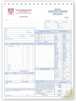 6501 HVAC Service Invoices personalized with your business information