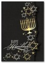 HH1678 Golden Menorah Hanukkah Cards